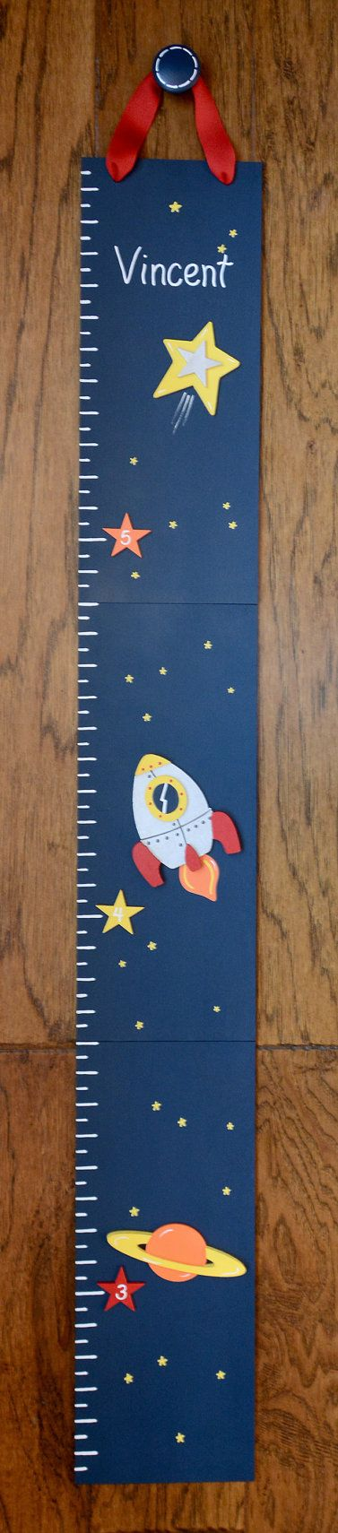 Space Rocket Wooden Growth Chart handpainted by LittleElephantCo