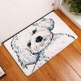 "YJ Bear Thin Cute White Dog Pattern Floor Mat Coral Fleece Home Decor Carpet Indoor Rectangle Doormat Kitchen Floor Runner 20"" X 31.5"""