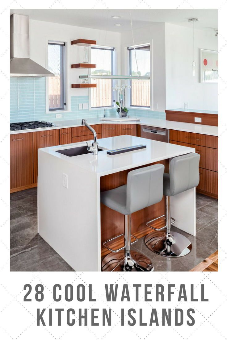 30 Cool Waterfall Kitchen Island Ideas Photos Waterfall Island Kitchen Moving Kitchen Island Small Modern Kitchens