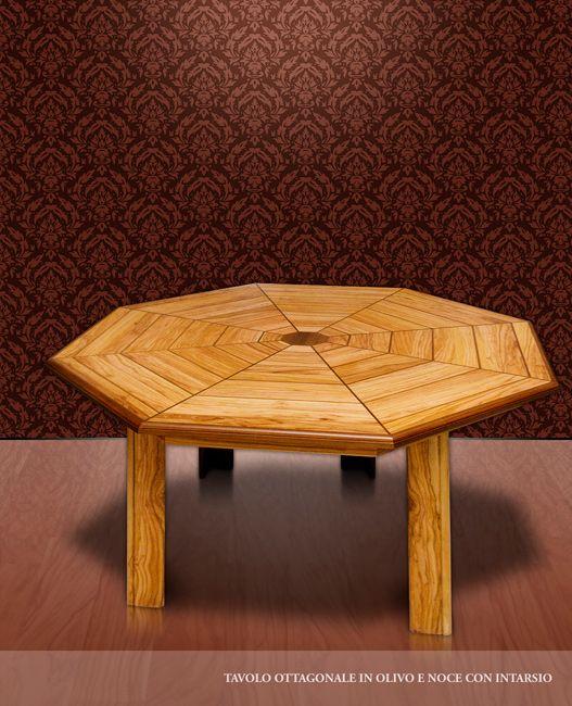 Tavolo ottagonale in legno di olivo