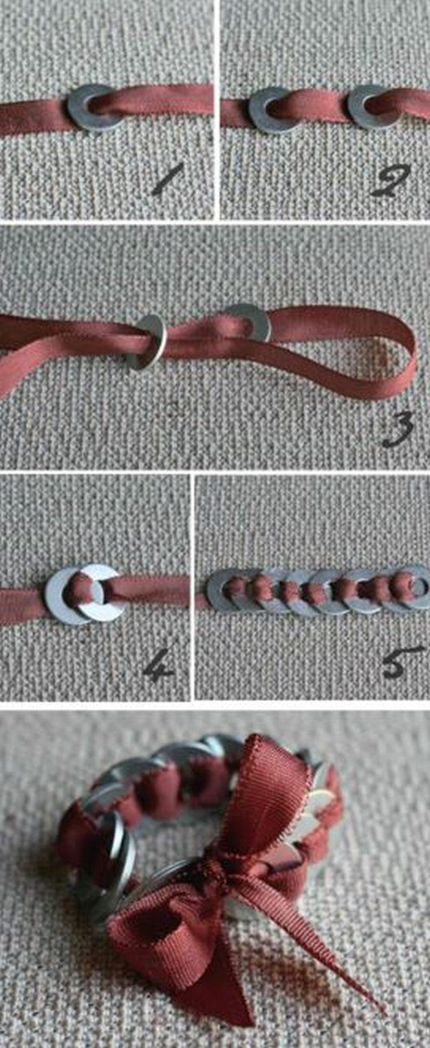 DIY Washer Bracelet | 11 DIY Bracelet Ideas - Unique And Tottally Awesome Ideas For Repurposed Handmade Accssories by DIY Ready at http://diyready.com/11-upcycled-bracelet-ideas-diy-bracelet
