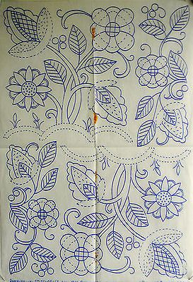 VINTAGE EMBROIDERY TRANSFER 1941 - SHEET OF JACOBEAN STYLE MOTIFS