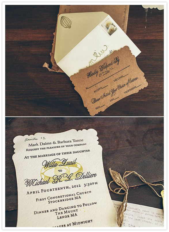 hand-stamped, vintage wedding invites