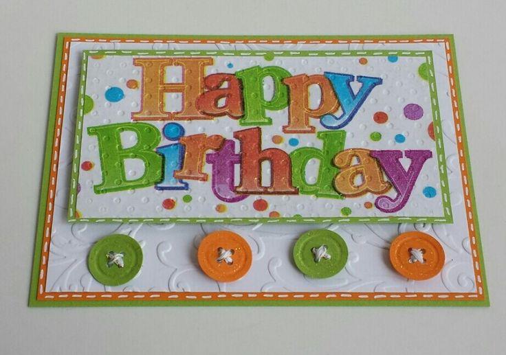 Happy Birthday,  Serviettentechnik, Napkins, Buttons, Knöpfe