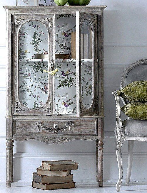 Wallpapered Armoire- different wallpaper but I love the armoire!