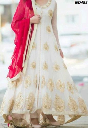White Ghauhar Long Anarkali Kameez Designer Anarkali Suit Replica Dress Wedding #SALWARSUITSNIRMALA #Partywear