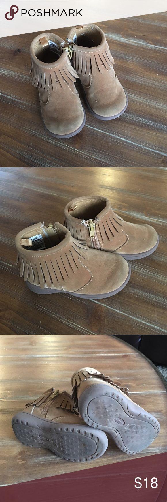 Suede fringe ankle boots Little girls camel colored Suede fringe ankle boots by Carter's! Size girls 6!! Carter's Shoes Boots