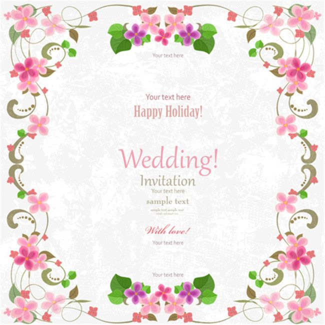 Pink Flower Wedding Invitation Card Vector Material Download