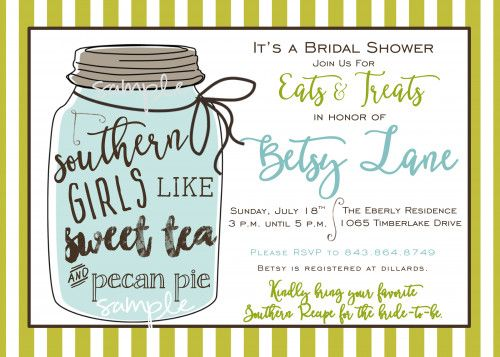 Southern Bridal Shower Recipe Mason Jar Tea Pecan Pie Invitation File