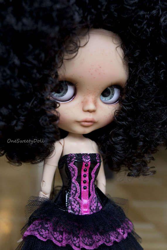 Kaili  RBL Blythe factory custom OOAK tan skin curly hair