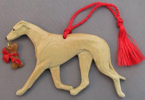Fawn Greyhound Dog Christmas Ornament