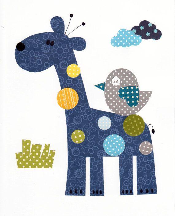 Giraffe Colorful Animal Nursery Artwork Print by 3000yardsofthread, $14.00