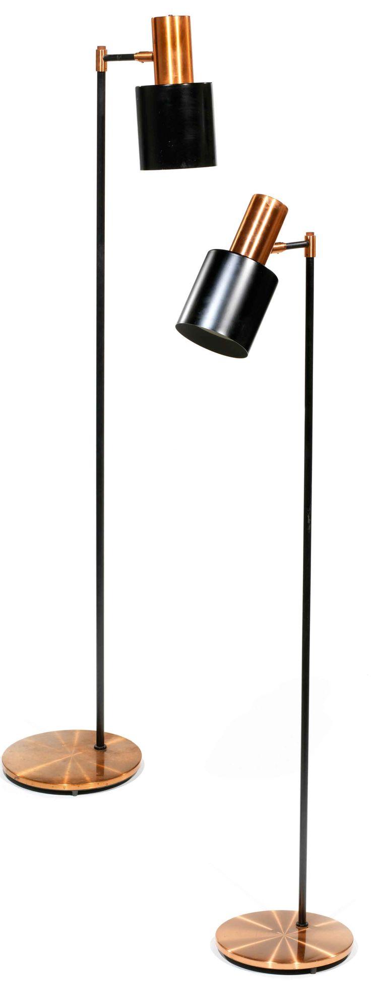 Jo Hammerborg; Copper and Enameled Metal Floor Lamps, c1960.