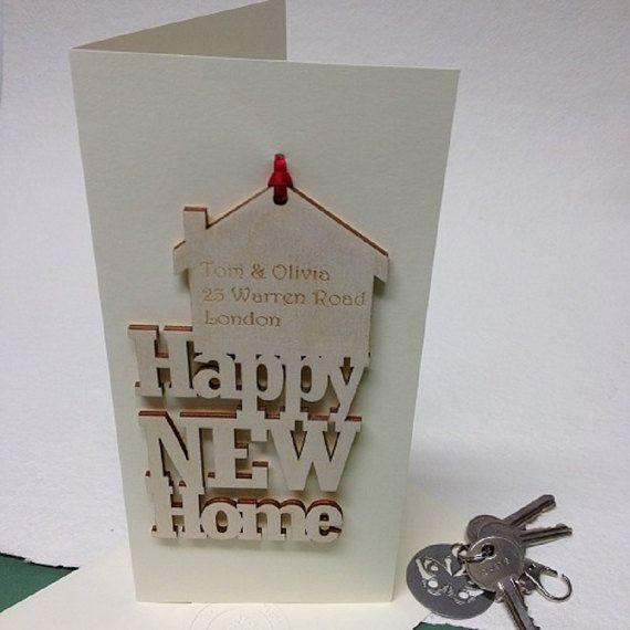 Nueva tarjeta de inicio recuerdo - personalizado nuevo hogar - inauguración de la casa regalo - tarjetas para la mudanza de casa - tarjetas para el nuevo hogar - concepto de nuevo feliz