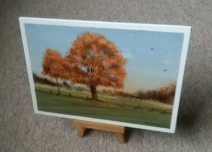 """Living on the edge of The New Forest is fantastic at any time of the year, especially when we have scenery like this. This beautiful Autumn Oak Tree picture was posted on a local board and the picture just screamed """"Paint Me"""". :) So i did. Hope you like it. Acrylic on 7x5 inch canvas  https://www.facebook.com/petertheartist/photos/pcb.1379199025512600/1379198805512622/?type=3&theater"""