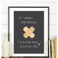 Affiche - merci d'avoir pris soin de moi - a télécharger  #ecole #maitresse #cadeau #enfant #findannee