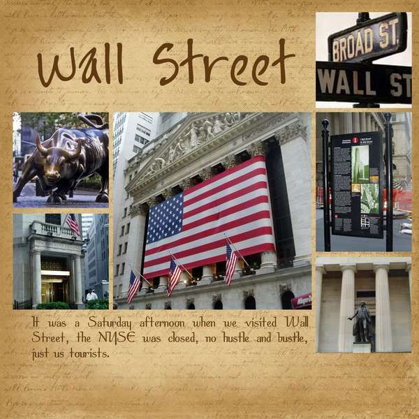 Wall street,just took a pic with President Washington :) 08-18-12