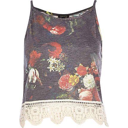 Black floral crochet hem cami top #riverisland