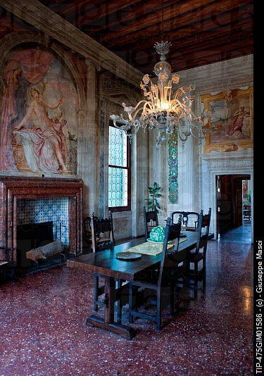 Villa Emo Halls, fresco paintings of Battista Zelotti , Architect Andrea Palladio ,Fanzolo di Vedelago Veneto, Italy .