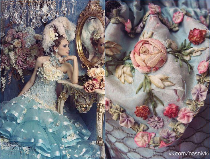 """""""Воображение - это глаза души"""" Ж.Жубер #вышивка #вышивание #рукоделие #цитаты #подборки #красота #мода #женщина #голубой #платье #ленты #цветы #музыка #воображение #фантазия #жизнь"""