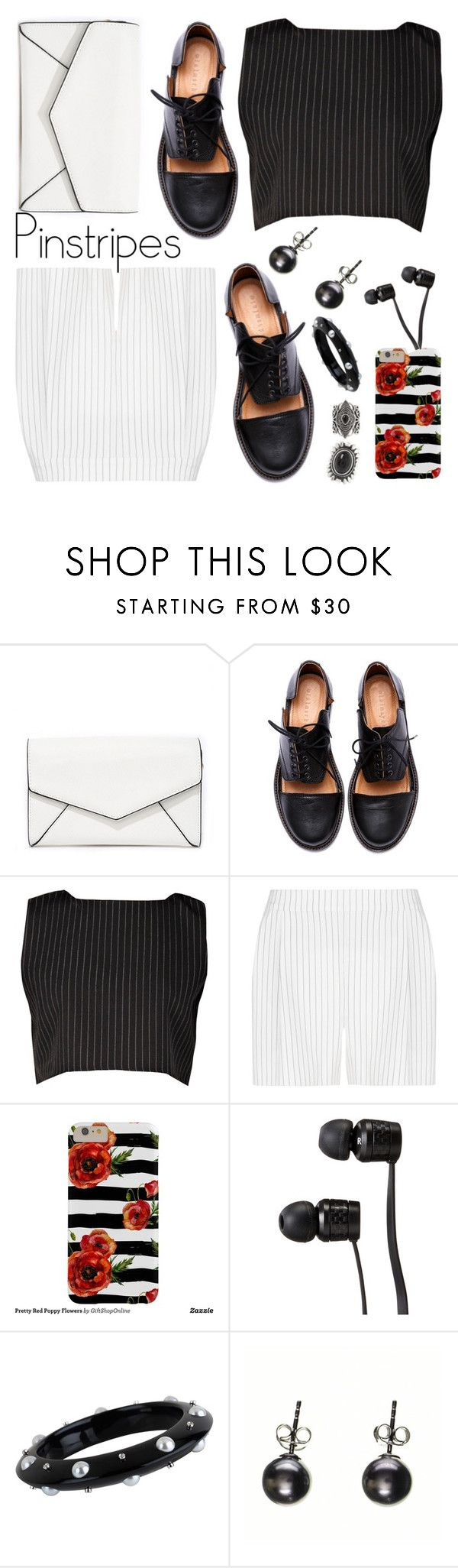 """Pinstripe"" by petalp ❤ liked on Polyvore featuring LULUS, Minimarket, BCBGMAXAZRIA, Vans, Miriam Salat, Black, New Look, shorts and ootd"