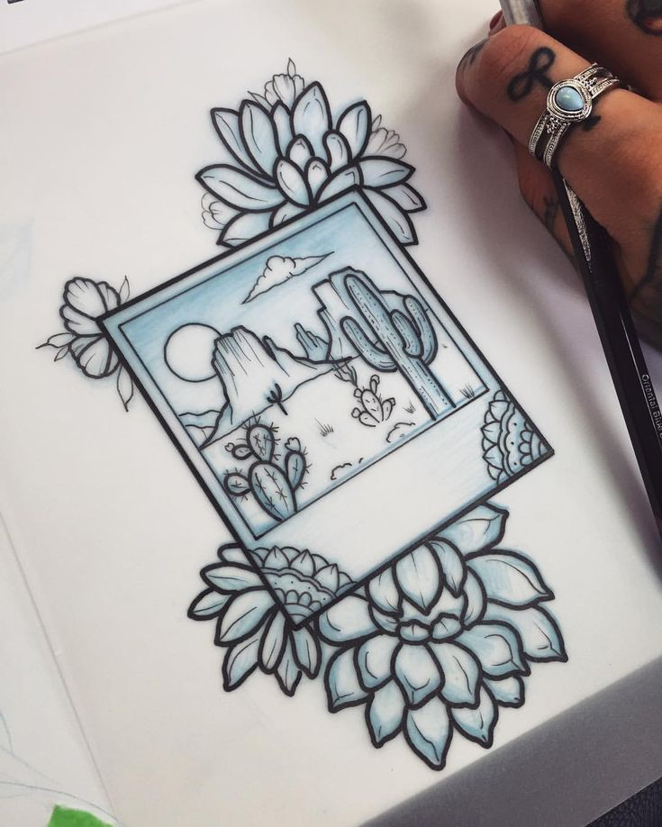 "3,959 Likes, 58 Comments - Stephanie Houldsworth (@stephanietattooer) on Instagram: ""*SOLD* Drew this little desert Polaroid and succulents! Would really like to tattoo it! Dm me if…"""