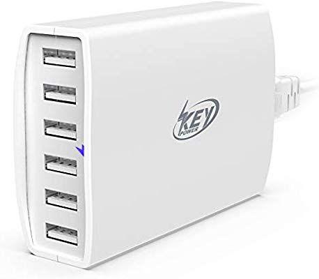 amazon com key power usb wall charger 60 watt 12a 6 port on usb wall charger id=61038