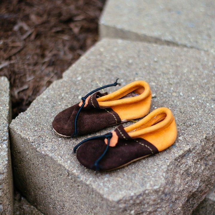 Handmade Suede Leather Baby Moccasins 6-12 Months from Trouvaille Boutique