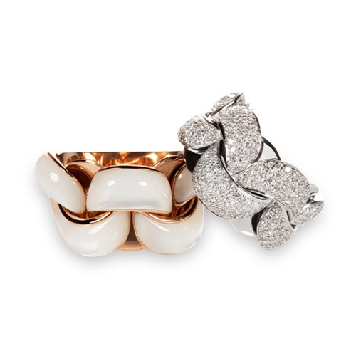 CHIMENTO Infinity rings: rose gold ring with white mother-of-pearl & White gold ring with white diamonds.