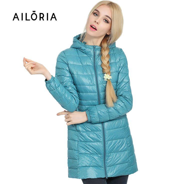 Ailoria 2016品質ブランド冬レディースロング春秋外套女性ウルトラライト90%白いアヒルダウンコートレディースジャケット