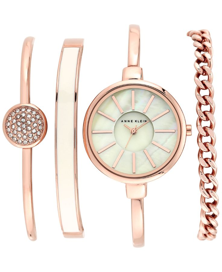 Anne Klein Women's Rose Gold-Tone Bracelet Watch Set 32mm AK/1470RGST - Anne Klein - Jewelry & Watches - Macy's