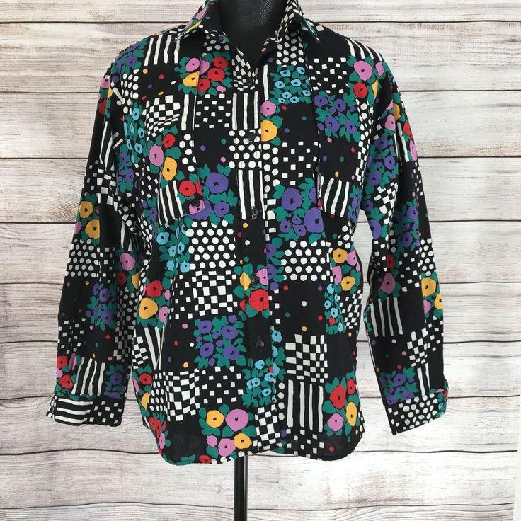 Womens Vintage Western Rockabilly Shirt Sz M/L? Black White Floral Button Down #RafterJX #ButtonDownShirt