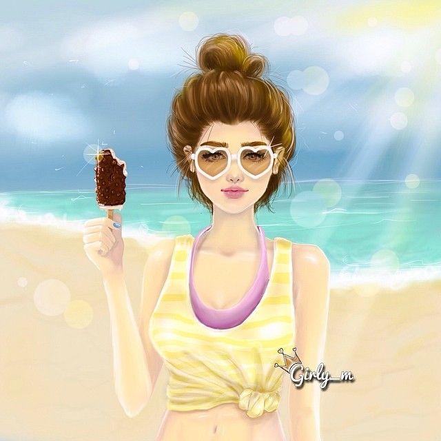Summer, heart glasses, Girl illustration #sun / Estate, occhiali a forma di cuore, illustrazione Ragazza #sole - Art by girly_m, Websta (Webstagram)