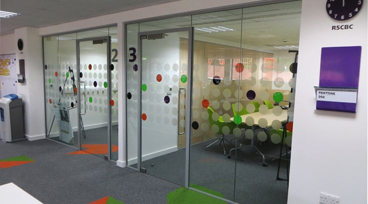 Coloured glass dots & frosted dots on office partition glass by Space3.co.uk