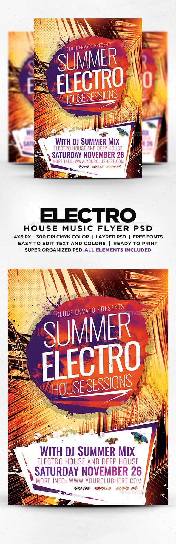 Summer Electro House Sessions Flyer  — PSD Template #special guest dj #summer electro • Download ➝ https://graphicriver.net/item/summer-electro-house-sessions-flyer/18435381?ref=pxcr