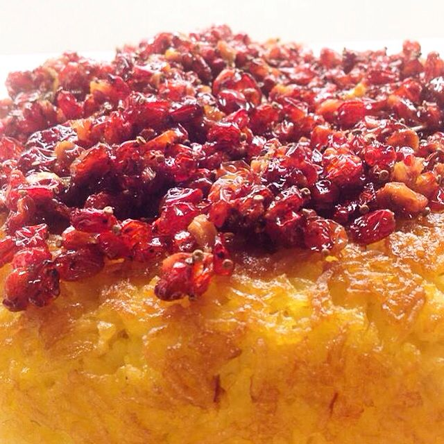 Barberries (are small dried sweet and sour Iranian berries) +rice+saffron