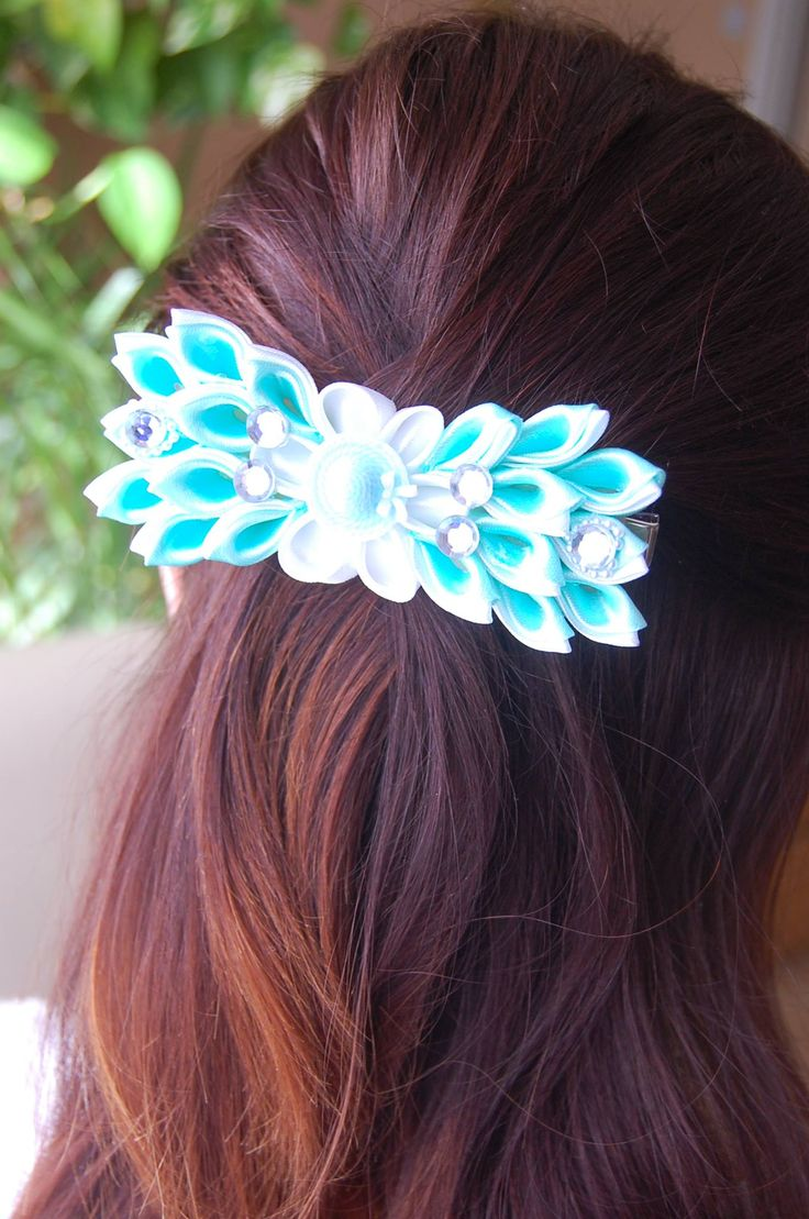 Turquoise Satin hair clip