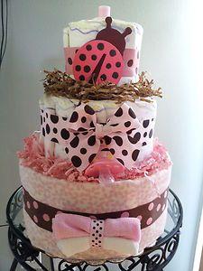 Pink & brown LADYBUG 3 tier diaper cake baby shower decoration/centerpiece