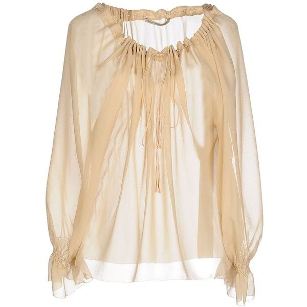 Ermanno Scervino Blouse ($565) ❤ liked on Polyvore featuring tops, blouses, beige, long sleeve tops, lace up front long sleeve top, ermanno scervino, beige blouse and lace up top