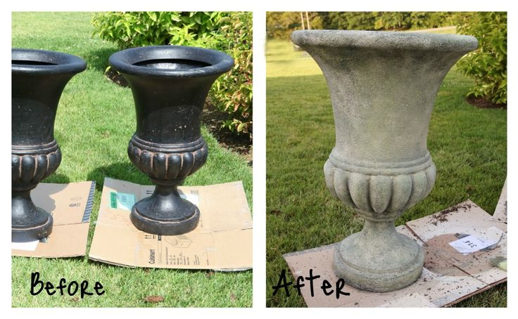Inexpensive Urn to concrete urn w/ concrete spray paint, green paint, etc