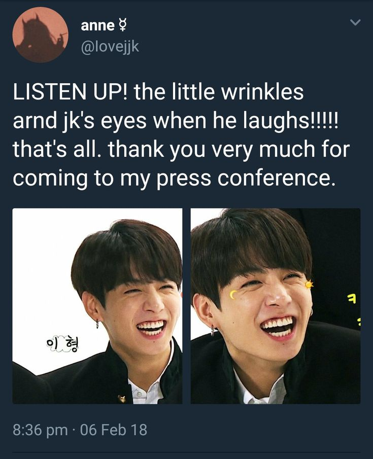 The wrinkles around Jungkook's eyes when he laughs...