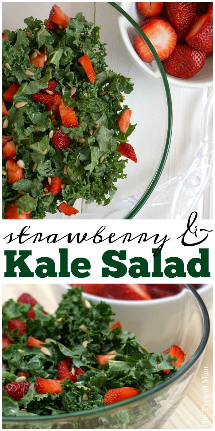 Kale strawberry salad that's a perfect barbeque side dish or served with dinner! Just a few ingredients for a healthy salad with a dash of fruit. via @thetypicalmom