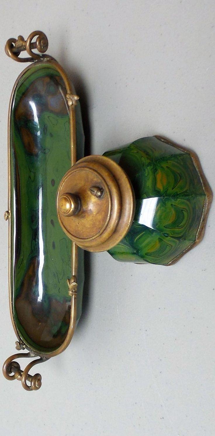 RARE Egermann Bohemian LITHYALIN Art Glass Desk Set - Pen Tray & Inkwell, c. 1820