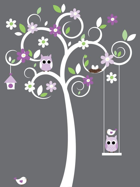 Nursery tree wall decal with owls, birds and swing vinyl wall decal stickers. $99.00, via Etsy.