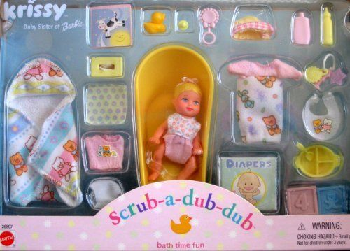Barbie Krissy Scrub A Dub Dub Bath Time Fun Doll Set 2000