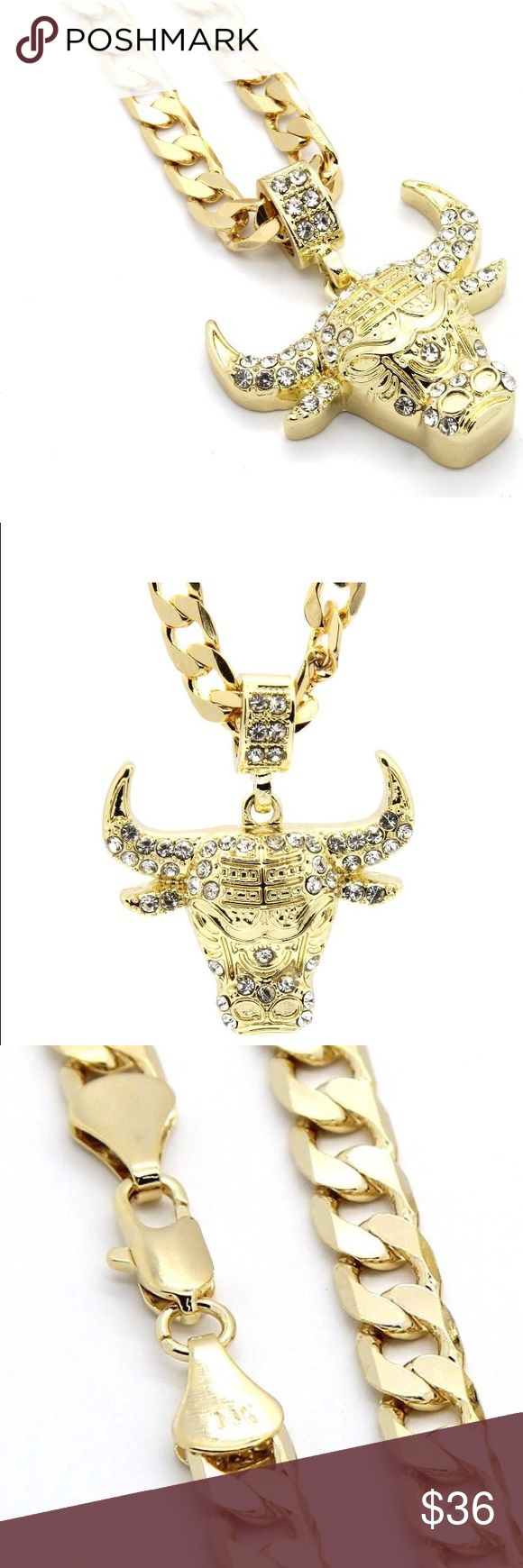 "Mens Gold Tone Iced Out Bull Small Pendant Mens Gold Tone Iced Out Bull Small Pendant with 5mm 24"" Cuban Chain Necklace Gold Toe Accessories Jewelry"