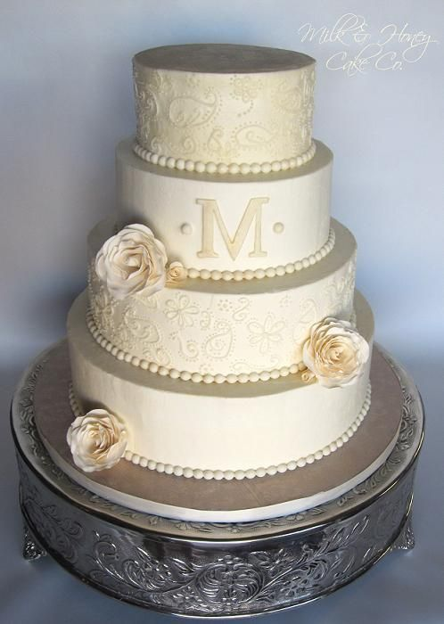 Round Wedding Cakes - All buttercream paisley piped off white wedding cake with sugar roses, pearls, and a monogram. TFL!