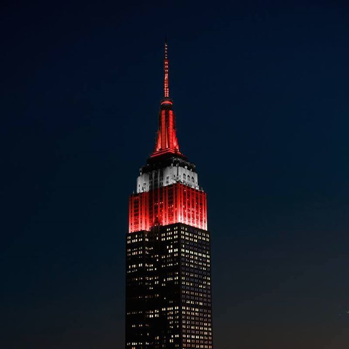 Empire State Building lit in Ohio State Colors to honor the National Champs