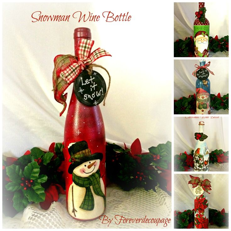 Wine bottle art for Christmas, painted and decoupaged! (scheduled via http://www.tailwindapp.com?utm_source=pinterest&utm_medium=twpin)
