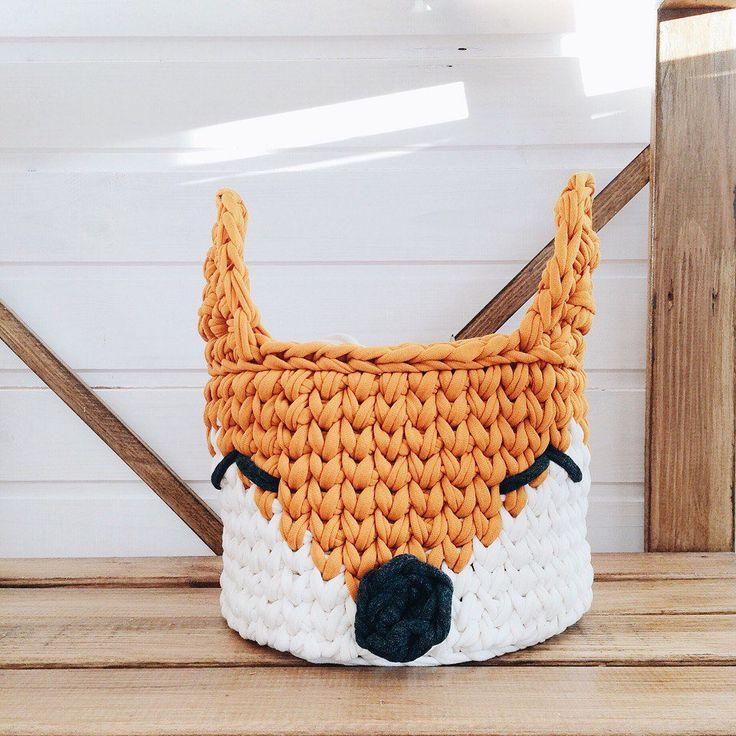 Foxy basket. Crochet foxy basket. Animal basket. Orange basket. Nursery basket. Knit basket. Storage basket by MyCozyStudio on Etsy